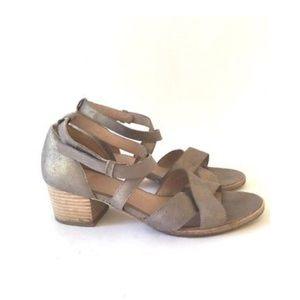 Eileen Fisher strappy metallic block sandal heels